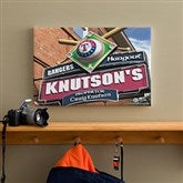 Texas Rangers MLB Personalized Pub Sign Canvas - 12x18 - 11496-S