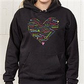 Her Heart of Love Personalized Black Hooded Sweatshirt - 11522-BHS