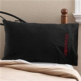 Embroidered Black Micro Fleece Pillow Case