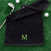 Embroidered Black Golf Towel - Initial - 11786-I