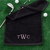 Embroidered Black Golf Towel - Raised Monogram - 11786-M
