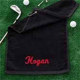 Embroidered Black Golf Towel - Name - 11786-N