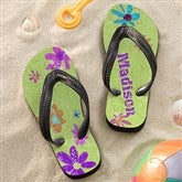 Flower Power Girl's Personalized Flip Flops - 11802