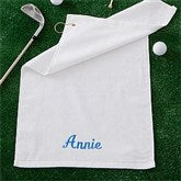 Embroidered White Golf Towel - Name - 11812-N
