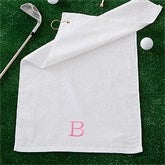 Embroidered White Golf Towel - Initial - 11812-I