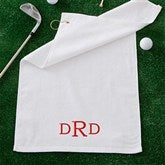 Embroidered White Golf Towel - Raised Monogram - 11812-M