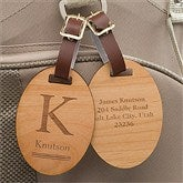 Classic Monogram Personalized Wood Bag Tag - 11937