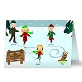 Ice Skating Family Character Personalized Cards - 11944