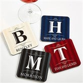 Elegant Monogram Personalized Coaster Set - 11952