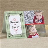 Naughty or Nice Personalized Photo Christmas Card- 2 Photo - 11964-2