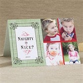 Naughty or Nice Personalized Photo Christmas Card- 4 Photo - 11964-4