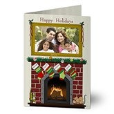 Fireplace Greetings Photo Christmas Cards - 11987