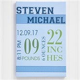 Baby's Big Day Personalized Canvas Print For Boys- 16