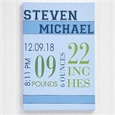 Baby's Big Day Personalized Canvas Print For Boys- 20