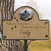 Pawprints In Heaven Memorial Stake With Photo Magnet - 12124-S