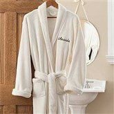 Embroidered Luxury Ivory Fleece Robe - 12138