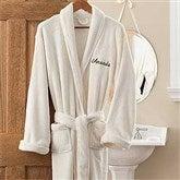 Embroidered Luxury Ivory Fleece Robe - 12138
