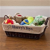 Pet Toy Basket with Personalized Tan Liner - 12141-T