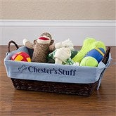 Pet Toy Basket with Personalized Blue Liner - 12141-B