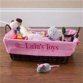 Pet Toy Basket with Personalized Pink Liner - 12141-P