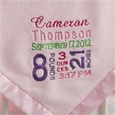 Birth Announcement Embroidered Baby Blanket- Pretty Pink - 12197-P
