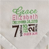 Birth Announcement Embroidered Baby Blanket- Ivory - 12197-I