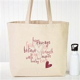 Love Life Personalized Rhinestone Canvas Tote - 12206