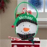 Embroidered Snowman Mini Treat Bag-Boy