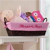 My Name Embroidered Storage Basket- Pink - 12252-P