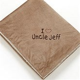 Warm Hearted Embroidered Sherpa Blanket for Him- Tan - 12254-T