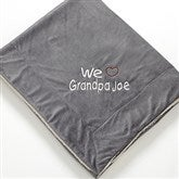 Warm Hearted Embroidered Sherpa Blanket for Him- Grey - 12254-G