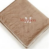 Initially Yours Embroidered Sherpa Blanket- Tan - 12255-Tan