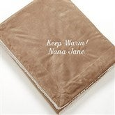 You Name it! Embroidered Sherpa Blanket- Tan - 12256-T