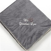 Warm Hearted Embroidered Sherpa Blanket For Her- Grey - 12257-G