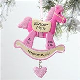 Rocking Horse 1st Christmas© Personalized Ornament-Pink - 12271-P