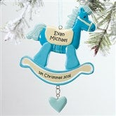 Rocking Horse 1st Christmas© Personalized Ornament-Blue - 12271-B