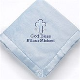God Bless Baby Embroidered Keepsake Blanket- Blue - 12288-B