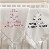 God Bless Baby Embroidered Keepsake Blanket- Ivory - 12288-I