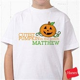 Cutest Pumpkin In The Patch Personalized Hanes® Youth T-Shirt - 12327-YCT