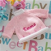 Baby's Sweater Embroidered Ornament - Pink - 12334-P