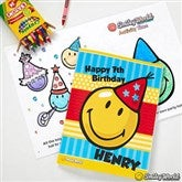 SmileyWorld® Personalized Birthday Coloring Activity Book & Crayon Set - 12349