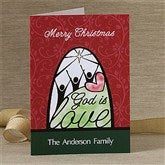 God Is Love Personalized Christmas Cards - 12366