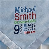 Birth Announcement Embroidered Blanket For Boys- Blue - 12372-B