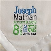 Birth Announcement Embroidered Blanket For Boys- Ivory - 12372-I