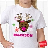 Christmas Reindeer Personalized Hanes® Youth T-Shirt - 12385-YCT