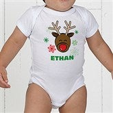 Christmas Reindeer Personalized Baby Bodysuit - 12385-BB