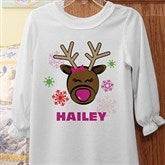 Christmas Reindeer Personalized Girls Nightgown - 12385NG