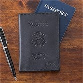 First Class Leather Debossed Passport Covers - Black - 12430-BL