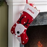 Santa's Helpers Embroidered Jumbo Stocking- Reindeer - 12443-R