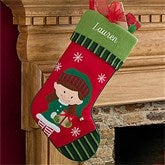 Santa's Little Helper Elf Embroidered Stockings- Girl - 12472-G